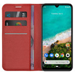 Leather Wallet Case & Card Holder Pouch for Xiaomi Mi A3 - Red